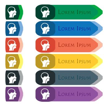 larynx, Medical Doctors Otolaryngology icon sign. Set of colorful, bright long buttons with additional small modules. Flat design
