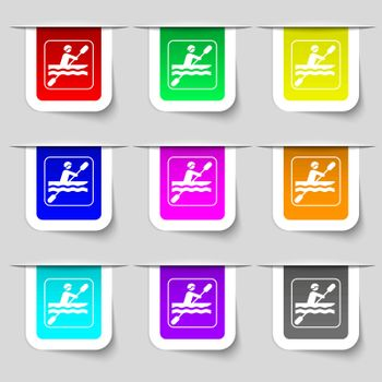 canoeing icon sign. Set of multicolored modern labels for your design. Vector