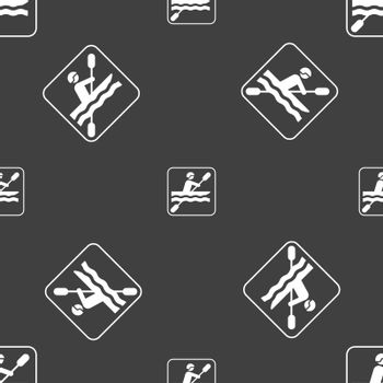 canoeing sign. Seamless pattern on a gray background. Vector