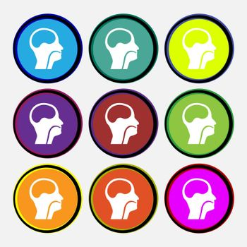 larynx, Medical Doctors Otolaryngology icon sign. Nine multi colored round buttons. Vector