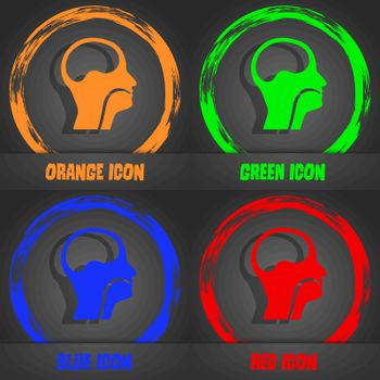 larynx, Medical Doctors Otolaryngology icon. Fashionable modern style. In the orange, green, blue, red design. Vector