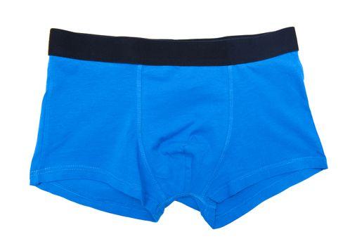 Blue boxer shorts isolated on the white background