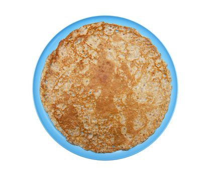 Pancake on the blue plate isolated on the white background