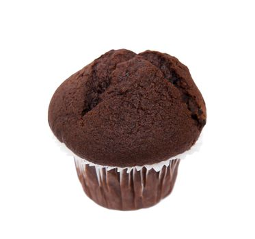 Chocolate muffin isolated on the white background