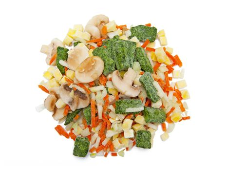 Frozen vegetables isolated on the white background