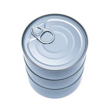 Cans isolated on the white background