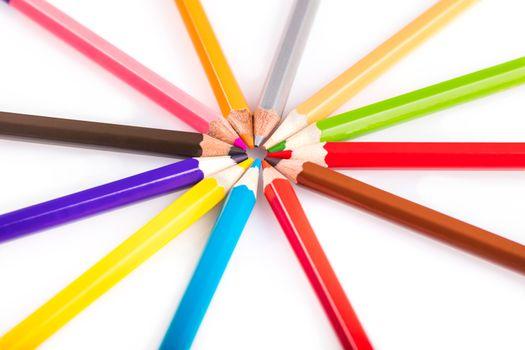 multicolored sharpened pencils close-up