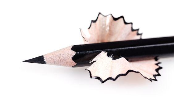 black sharpened pencil close-up