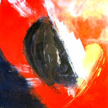 Painting with the title: Broken heart. Acryl on canvas. Red, black, dark gray, yellow colors.