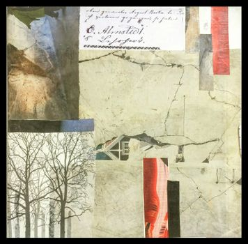 Paper collage painted on canvas containing elements from nature and the forest. An avalanche took House.