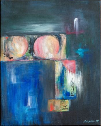 Abstract painting with bluish colors. Nonfigurative oil painting on canvas. Inspired by fruits in a garden.