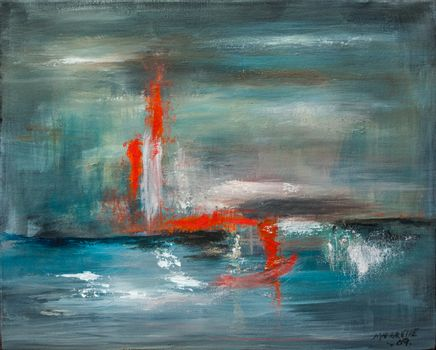 Nonfigurative oil painting on canvas inspired by the Chinese alphabet.