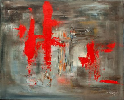 Inspiration from China. The game between light and dark. Oil painting on canvas, non-figurative.