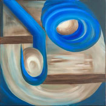 Abstract oil painting on canvas containing circular blue elements