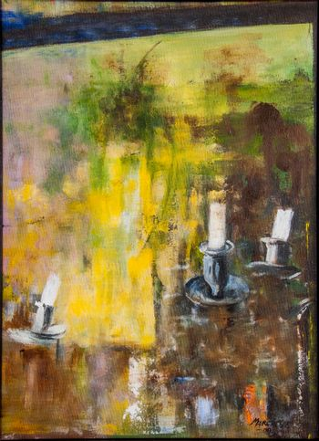 Candles mirrored in a mirror. Oil art painting on canvas.
