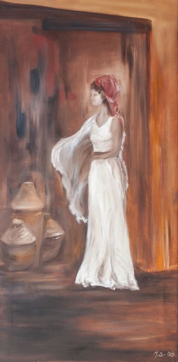 Lady in white dress is posing like a model. Figurative oil painting art on canvas