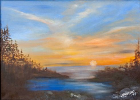 Sunset over the sea in western Norway in the late summer. Oil painting on canvas. Sea, forest, and mountains. Figurative art.