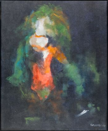 Portrait of a nymph or a sorceress. Painted with oil on canvas.