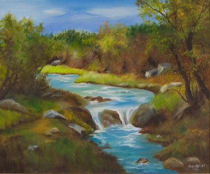 The scenery from the mountains of Matre on the western coast of Norway. Oil painting on canvas