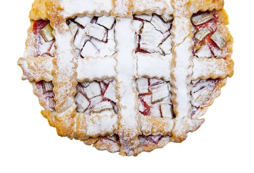 Tart with rhubarb isolated on the white background
