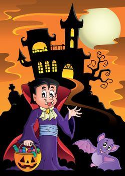 Halloween vampire near haunted house