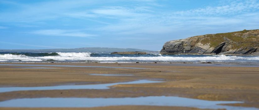 panoramic view of ballybunion beach and cliffs on the wild atlantic way in ireland