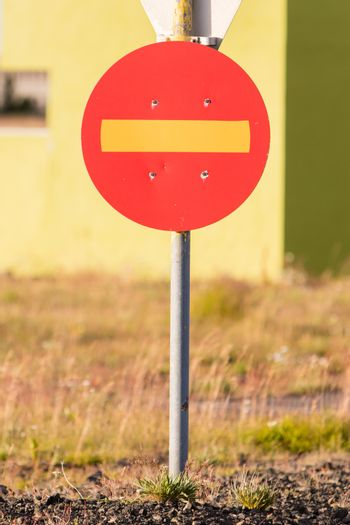 Road sign in Iceland - No entry