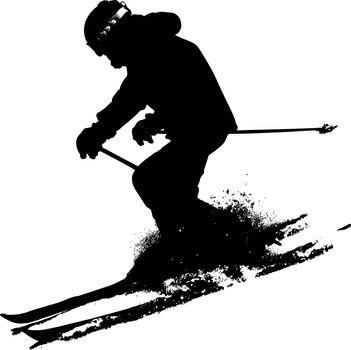Mountain skier  speeding down slope. Vector sport silhouette.