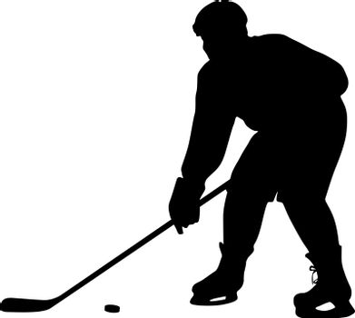 silhouette of hockey player. Isolated on white. Vector  illustra