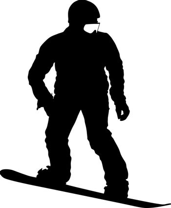Black silhouettes  snowboarders on white background. Vector illu