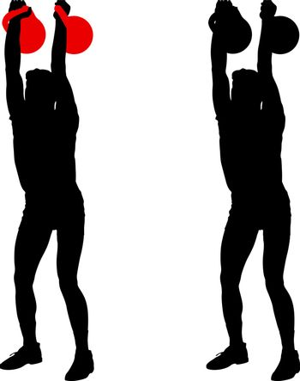 Silhouette muscular man holding kettle bell.  Vector illustration.