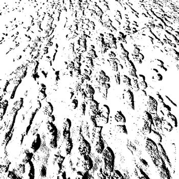 Silhouette  shoes footprint  in the snow.  Vector illustration.