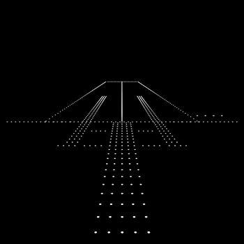 Luminous night landing lights Airport. Vector illustration.