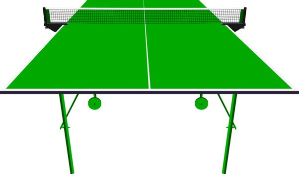 Ping pong green table tennis. Vector illustration.