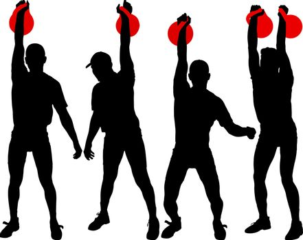 Set silhouette muscular man holding kettle bell.  Vector illustration.