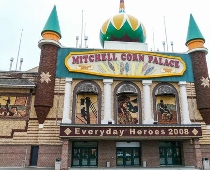 """Mitchell, South Dakota, USA - May 10, 2008: Exterior of  famous """"The World's Only Corn Palace"""" known widely for its walls covered with corn."""