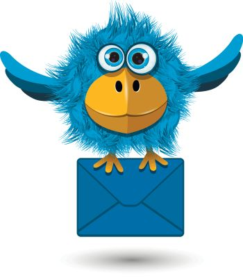 Illustration of Blue Bird with a blue envelope