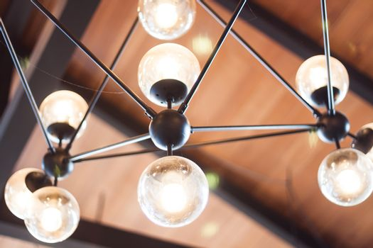 Beautiful light lamp decorated in coffee shop