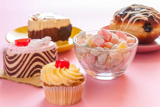 Various tasty sweet dessert for tea and cooffee