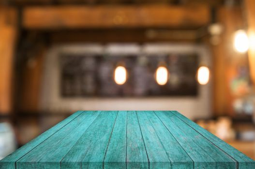 Perspective blue wooden table top with coffee shop