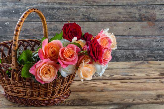 Beautiful roses in basket