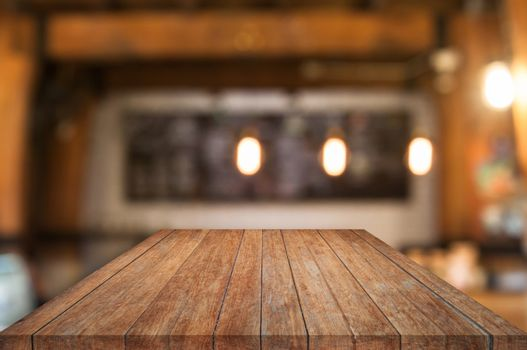 Perspective wooden table top with coffee shop