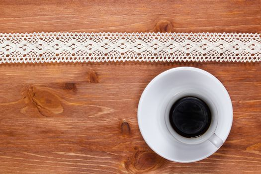 Openwork lace and cup of coffee