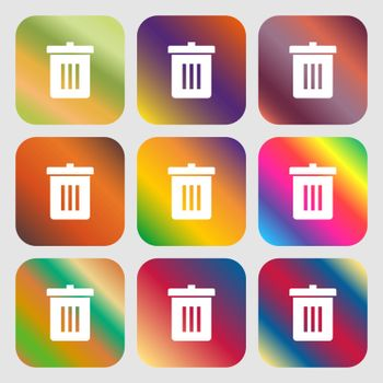 Recycle bin, Reuse or reduce icon. Nine buttons with bright gradients for beautiful design. Vector