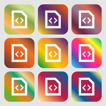 Script icon. Nine buttons with bright gradients for beautiful design. Vector