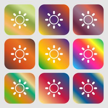 Brightness icon sign . Nine buttons with bright gradients for beautiful design. Vector