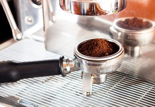 Coffee grind in group with coffee machine with vintage style