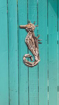 Wood driftwood seahorse decor