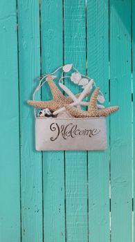Starfish and seashell welcome basket