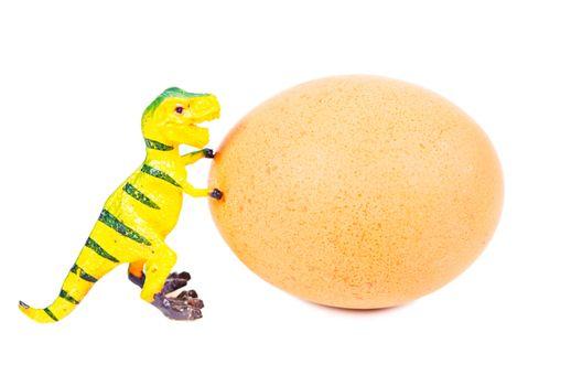 funny plasticine dinosaur toy and egg.